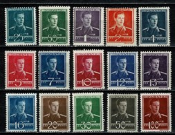 Romana 1940/42 Yv  619/33**,  MNH - 1918-1948 Ferdinand, Carol II. & Mihai I.