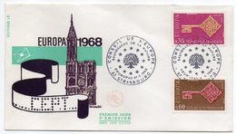 1968  -- FDC     EUROPA  ---- Cathédrale  -- 2 Valeurs   --  Cachet    STRASBOURG - 67 - FDC