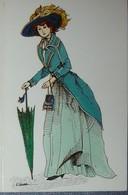 Petit Calendrier De Poche 1989 Illustration Costume D'époque Landeau Femme Mode Ombrelle - Caen - Calendriers