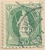 Stehende Helvetia 74E, 50 Rp.grün          1902 - Usati
