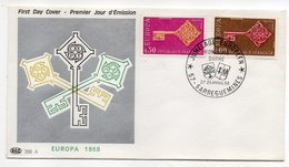 1968  -- FDC     EUROPA  ---  2 Valeurs   --  Cachet    SARREGUEMINES--57 - FDC