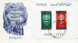 "YEMEN.1962. BLOC NON DENTELE AVEC SURCHARGE.( FDC) ""ERADICATION DU  PALUDISME"".(MALARIA). - Maladies"