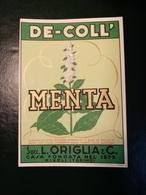 """6213 """" MENTA - DE-COLL' - SUCC. L. ORIGLIA & C.-RIVOLI-TORINO """" ORIGINALE - Etichette"""