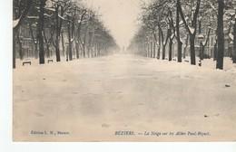 Béziers - La Neige Sur Les Allées Paul Riquet - Beziers