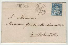 Suisse // Schweiz // Switzerland //  Helvétie Assise //  Lettre De Fiesch Pour Louèche Le 22.04.1864 (linéaire FIESCH) - 1862-1881 Helvetia Assise (dentelés)