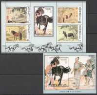 2002 N. Korea- Horse In Chineese Painting 10 Horses Of Imperor Qian Long Set Of 2 MS MNH** Mi B 510/511 Art, - Korea (Nord-)