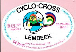 Sticker - Wereldkampioenschap CYCLO-CROSS 1986 - LEMBEEK - Autocollants
