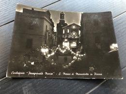 CARLOFORTE PEREGRINATIO MARIAE  S. MESSA DI MEZZANOTTE IN PIAZZA  1955 - Altre Città