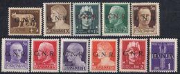 REPUBBLICA SOCIALE ITALIANA - 1944 - Lotto Di 11 Valori Nuovi MNH: Yvert 1/3, 5, 6, 8/10, 12, 13 E Posta Aerea 5 - 4. 1944-45 Sozialrepublik