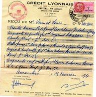 """Ensemble De 6 Documents  De 1954 """" Reçu Crédit Lyonnais"""" Avec Chacun Un Timbre Fiscal  (deux à 7 F, 4 à 2 F) + Une Liste - Fiscaux"""