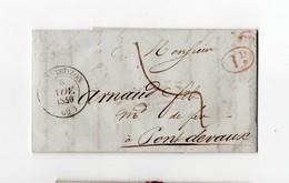 * - LAC - Lettre De 1840, Cachet De MONTBOZON (70), Cachets OR Et 1 Décime Rouges, Forges De Loulans, Taxe Manuscrite. - 1801-1848: Précurseurs XIX