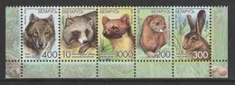 BELARUS 2008 Animals/Wolf/Raccoon Dog/Pine Marten/Mink/Hare: Strip Of 5 Stamps UM/MNH - Otros