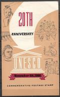 PAKISTAN 1966 BROCHURE WITH STAMP 20TH ANNIVERSARY OF UNESCO - Pakistan