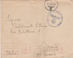 BUSTA VIAGGIATA POSTA MILITARE - FELDPOST - VIAGGIATA DALLA GERMANIA PER LISCATE (MILANO) ITALY - MITTENTE CAPORALE C.V. - 1900-44 Vittorio Emanuele III