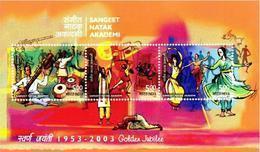 5X INDIA 2003 Sangeet Natak Academy; Miniature Sheet; MINT - India
