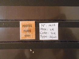 FRANCE  YT PR29 SEMEUSE 30c.orange Surcharge POSTES PARIS 1921 - Precancels