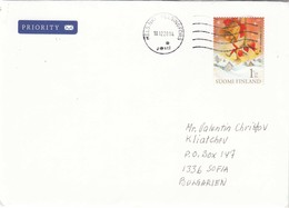 Finland-110/2014 - 1. Klass - Christmas, Letter Ordinary+priority From Helsinki To Sofia/Bulgaria - Finlande