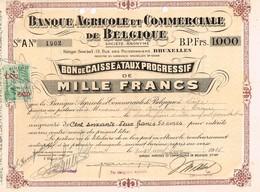 Titre Ancien - Banque Agricole Et Commerciale De Belgique - Titre De 1936 - - Bank En Verzekering
