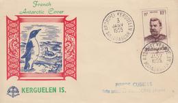 Enveloppe   FDC  T.A.A.F   Oblitération  :  ARCHIPEL  KERGUELEN  3  Janvier  1955 - FDC