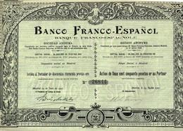 Titre Ancien - Banco Franco-Español -Banque Franco-Espagnole - Titre De 1907 - - Bank En Verzekering