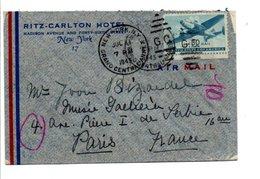 USA ETATS UNIS LETTRE DE NEW YORK POUR LA FRANCE 1945 - Etats-Unis