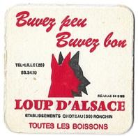 SOUS BOCK ANCIEN BRASSERIE BELLE- VUE BELGIQUE VOILIER ET  LOUP D ALSACE CHOTEAU RONCHIN NORD FRANCE, VOIR LES SCANNERS - Sous-bocks