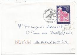 N° 2984 2FR80 SEMEUSE JOURNEE DU TIMBRE SEUL LETTRE DOUAI 16 MARS 1996 USAGE 2 JOURS - Marcophilie (Lettres)