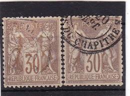 # Z.10863 France Republic 1876 - 78 Type I. 2 X Value 30c Used, Yvert 69, Michel 64: Pax & Mercur - 1876-1878 Sage (Type I)