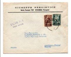 TURQUIE AFFRANCHISSEMENT COMPOSE SUR LETTRE A EN TETE DE ISTANBUL POUR LA FRANCE 1953 - Covers & Documents