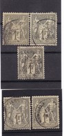 # Z.10866 France Republic 1876 - 78 Type I. 5 X Value 1 Fr. Used, Yvert 72, Michel 67: Pax & Mercur - 1876-1878 Sage (Tipo I)