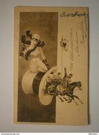 Illustrateur. Cavalière Sexy Assise Sur Un Haut De Forme D'où Jaillissent Des Cavaliers (A2p68) - 1900-1949