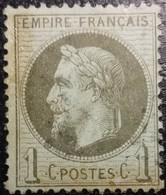 FRANCE Y&T N°25a Napoléon 1c Olive. Oblitéré. - 1863-1870 Napoleon III With Laurels