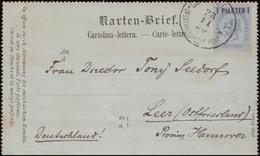 Österreichische Post In Der Levante: Kartenbrief K 3 CONSTANTINOPEL 28.11.1890 - Levant Autrichien