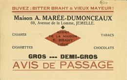 """CP De JEMELLE """" Maison A.Marée - Dumonceaux , Bitter Brahy Et Vieux Mayeur , Tabcs Cigares..."""" - Rochefort"""