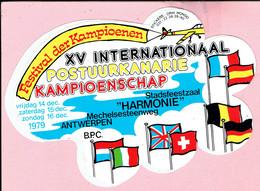 Sticker - XV Internationaal Postuurkanarie Kampioenschap 1979 - Stadsfeestzaal HARMONIE Mechelsesteenweg Antwerpen - Autocollants