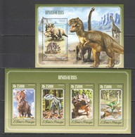 ST1619 2014 S. TOME E PRINCIPE FAUNA PREHISTORIC ANIMALS DINOSAURS KB+BL MNH - Préhistoriques