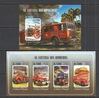 ST1631 2014 S.TOME E PRINCIPE TRANSPORT FIRE TRUCK VIATURAS DOS BOMBEIROS KB+BL MNH - Vrachtwagens