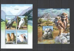 ST1657 2014 S. TOME E PRINCIPE FAUNA BIRDS OWLS CORUJAS KB+BL MNH - Eulenvögel