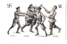 ***  Illustrateur - PROPAGANDE ANTI NAZIS -  Hitler Goering La Pologne Staline  - Excellent état - - Guerra 1939-45