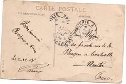 Bizerte à Tunis B 1908 - Ambulant Ferroviaire Sur Carte Postale De Carthage - 2 Scans - Tunisie (1888-1955)