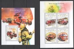 ST1667 2014 S.TOME & PRINCIPE SPECIAL TRANSPORT CARS FIRE TRUCKS KB+BL MNH - Vrachtwagens