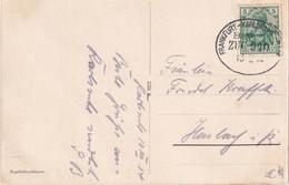 ALLEMAGNE 1914 CARTE POSTALE DE KARLSRUHE  AVEC CACHET FERROVIAIRE/ZUGSTEMPEL FRANKFURT-KARLSRUHE - Alemania