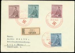 P0493 - DR Böhmen Und Mähren Propaganda Adolf Hitler Geburtstag Auf R - Briefumschlag : Gebraucht Mit Sonderstempel Pr - Duitsland