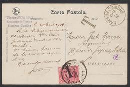 Taxe - CP Vue (Ham-sur-Sambre) Non Affranchié Expédié Vers Louvain + TX18 (1919) - Tasse