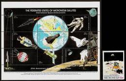 MICRONESIA 1989 - 20th Anniv. FIRST MAN On The MOON - Sheet + 1v Mi 132-141 MNH ** Cv€11,00 V663a - Micronesia