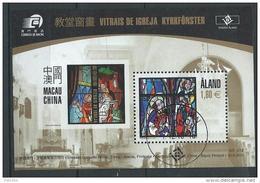 Aland 2010 Bloc N° 9 Oblitéré, Vitraux émis Avec  Macao - Ålandinseln