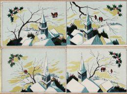 Cpfete 010 NOEL Lot 4 CPSM Barré & Dayez 1398 A-B-C-D Série OISEAUX EGLISE Clocher Village Hiver-Dépot 1946-1 N°579 - Natale