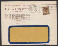 """Képi - N°341 Sur Lettre """"Brasserie, Malterie Et Meunerie De La Vignette"""" Obl Mécanique Leuven (1934) Vers Fenêtre. - 1931-1934 Képi"""