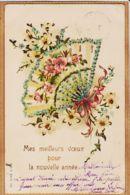 Cpfete 127 Embossed Eventail MEILLEURS VOEUX Pour NOUVELLE ANNEE 1903 à Magdelaine GAYREL Rue Père Gibrat Gaillac - Nouvel An