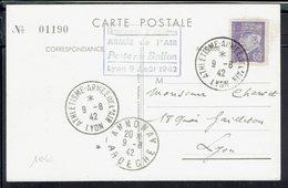 Fr - Par Aéronef - Championnat D'Athlétisme De L'Armée De L'Air - Stade Municipal De Lyon Le 9 Août 1942 - TB - - Airmail
